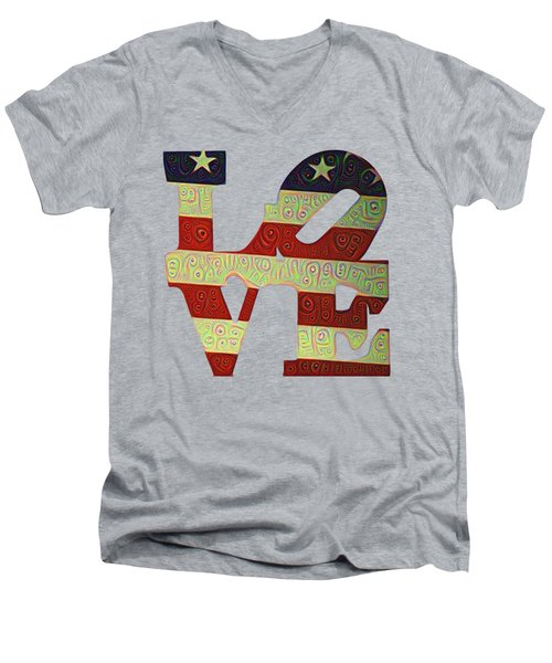 Love The Usa Men's V-Neck T-Shirt by Bill Cannon