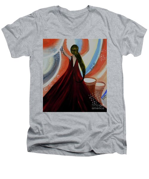 Love To Dance Abstract Acrylic Painting By Saribelleinspirationalart Men's V-Neck T-Shirt by Saribelle Rodriguez
