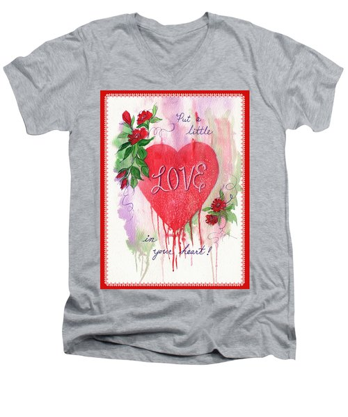 Men's V-Neck T-Shirt featuring the painting Love Valentine by Marilyn Smith