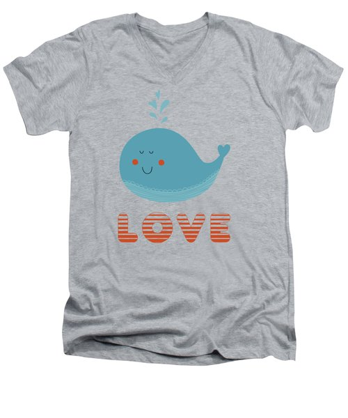 Love Whale Cute Animals Men's V-Neck T-Shirt by Edward Fielding