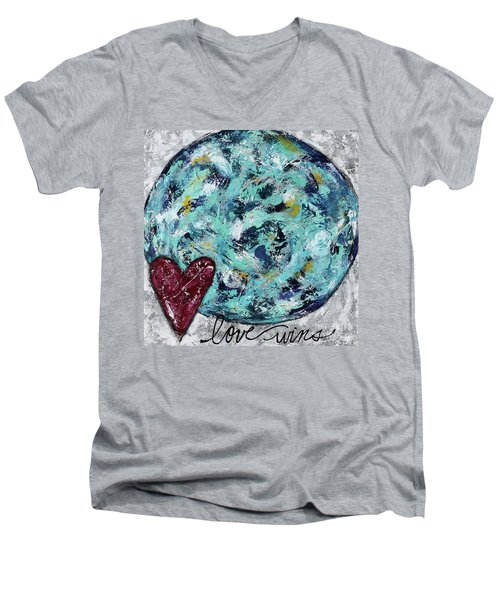Love Wins Men's V-Neck T-Shirt by Kirsten Reed