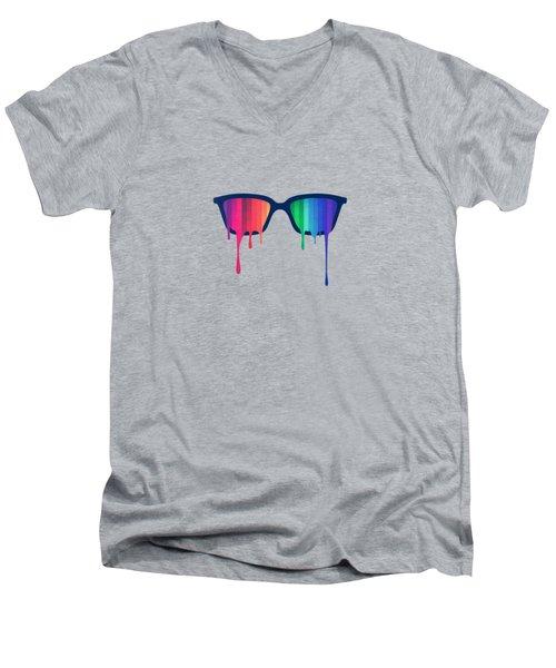 Love Wins Rainbow - Spectrum Pride Hipster Nerd Glasses Men's V-Neck T-Shirt