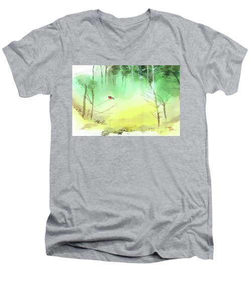 Men's V-Neck T-Shirt featuring the painting Lovebirds 3 by Anil Nene