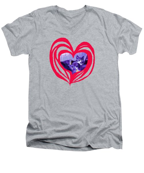 Loveheart Kitty Men's V-Neck T-Shirt by Mary Armstrong