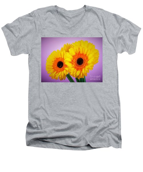 Lovely And Beautiful - Gerbera Daisies Men's V-Neck T-Shirt by Ray Shrewsberry
