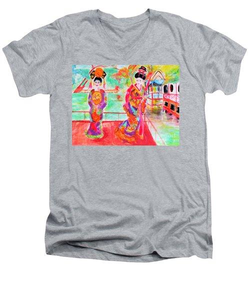 Lovely Asian Ladies Men's V-Neck T-Shirt