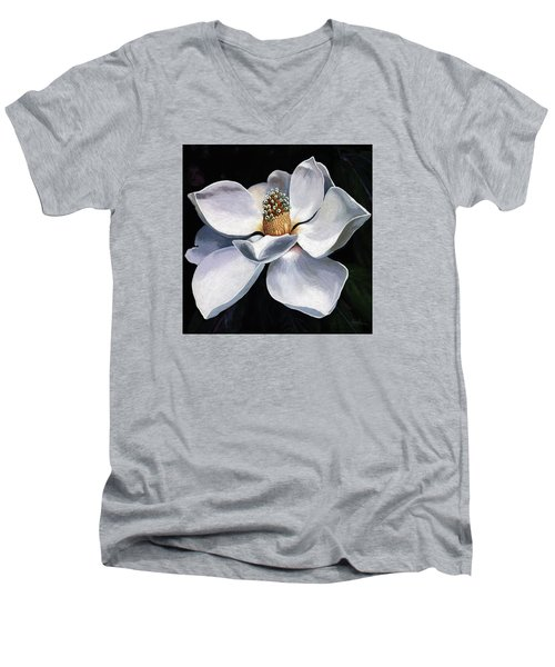 Men's V-Neck T-Shirt featuring the painting Lovely In White - Painting Magnolia Flower  by Linda Apple