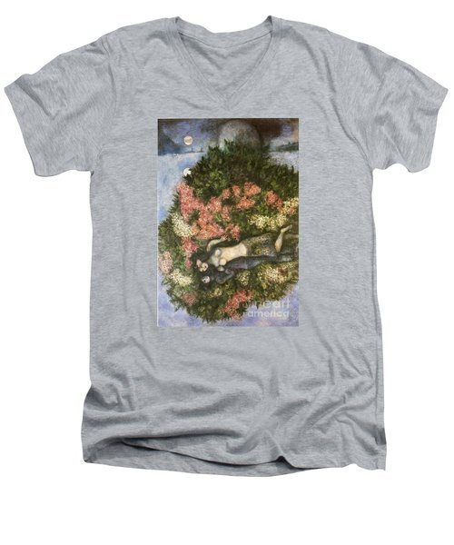 Lovers In The Lilacs Men's V-Neck T-Shirt by Marc Chagall