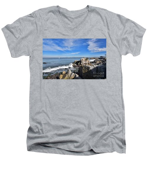Lovers Point Park Men's V-Neck T-Shirt by Gina Savage