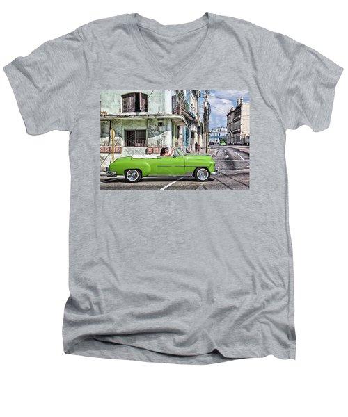 Lovin' Lime Green Chevy Men's V-Neck T-Shirt