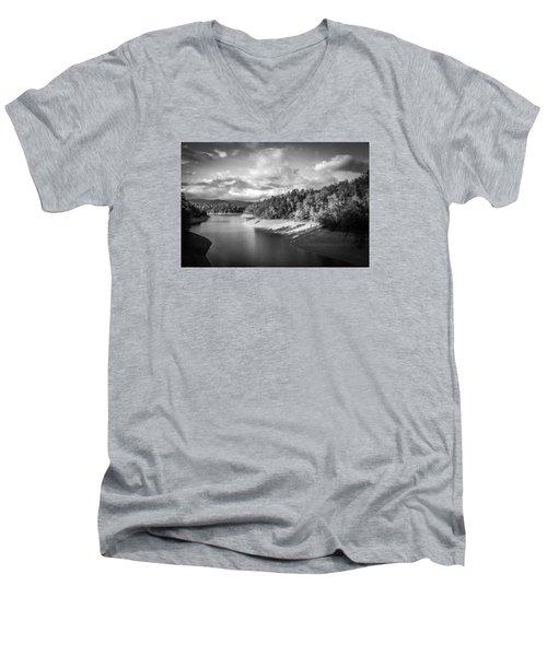Low Sun Across The Nantahala River As The Clouds Clear Away Men's V-Neck T-Shirt by Kelly Hazel