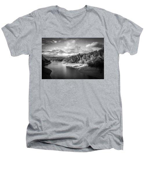 Low Sun Across The Nantahala River As The Clouds Clear Away Men's V-Neck T-Shirt