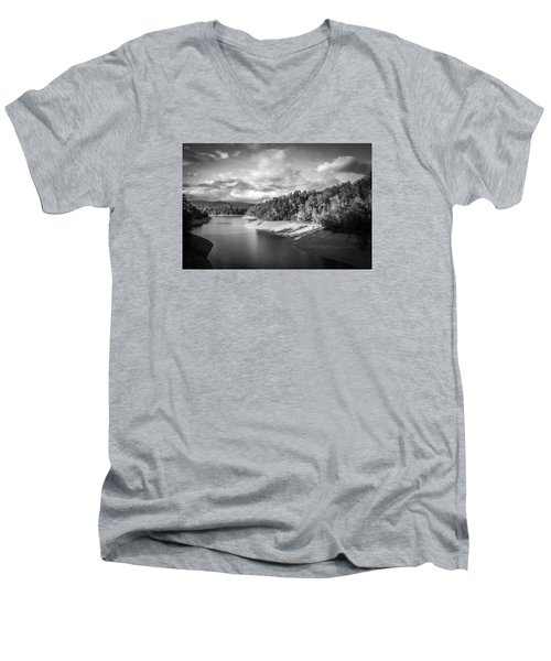 Low Sun Across The Nantahala River As The Clouds Clear Away Men's V-Neck T-Shirt