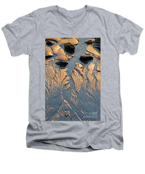 Low Tide Flow, Kettle Cove, Cape Elizabeth, Maine  -66557 Men's V-Neck T-Shirt by John Bald