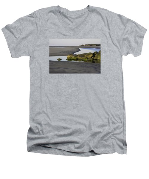 Low Tide On Tybee Island Men's V-Neck T-Shirt by Elizabeth Eldridge