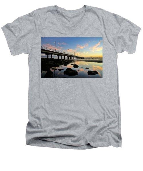 Low Tide Reflections At The Pier  Men's V-Neck T-Shirt