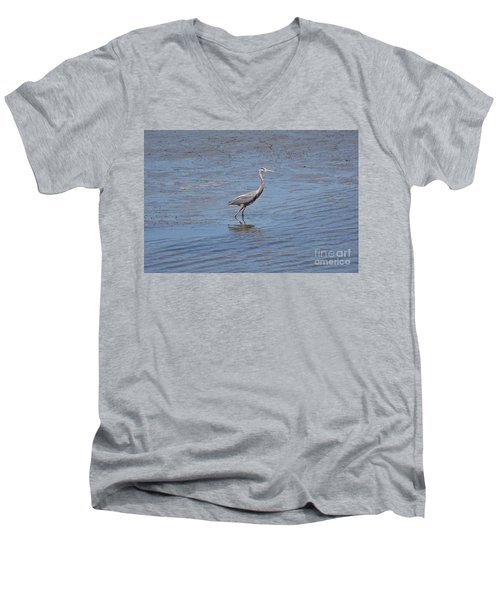 Low Tide Stroll Men's V-Neck T-Shirt by Carol  Bradley