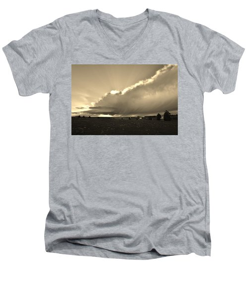 Low-topped Supercell Black And White  Men's V-Neck T-Shirt by Ed Sweeney