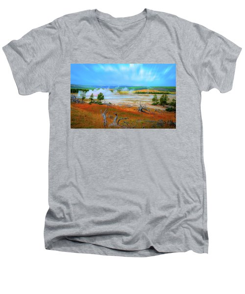 Lower Basin Men's V-Neck T-Shirt by Mark Dunton