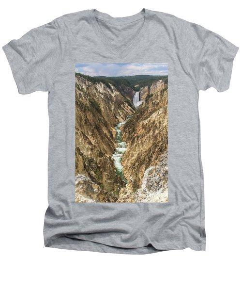 Lower Falls Of The Yellowstone - Portrait Men's V-Neck T-Shirt