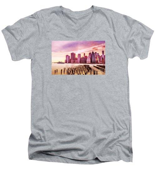 Lower Manhattan And Ferry Men's V-Neck T-Shirt