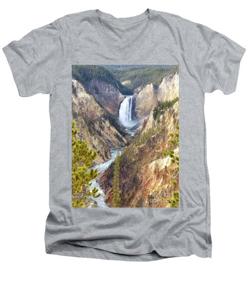Lower Yellowstone Falls From Artist Point Men's V-Neck T-Shirt