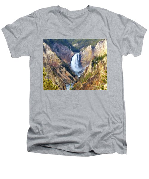 Lower Yellowstone Falls Men's V-Neck T-Shirt