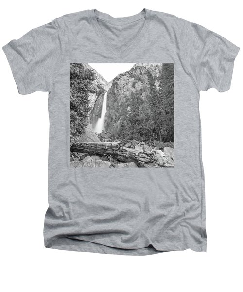 Lower Yosemite Falls In Black And White By Michael Tidwell Men's V-Neck T-Shirt