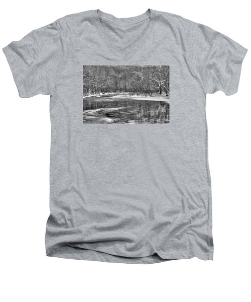 Loyalhanna Creek Bw - Wat0097 Men's V-Neck T-Shirt by G L Sarti