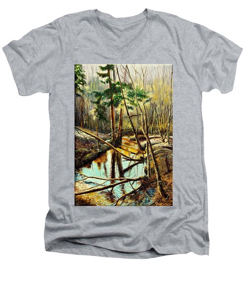 Men's V-Neck T-Shirt featuring the painting  Lubianka-1- River by Henryk Gorecki