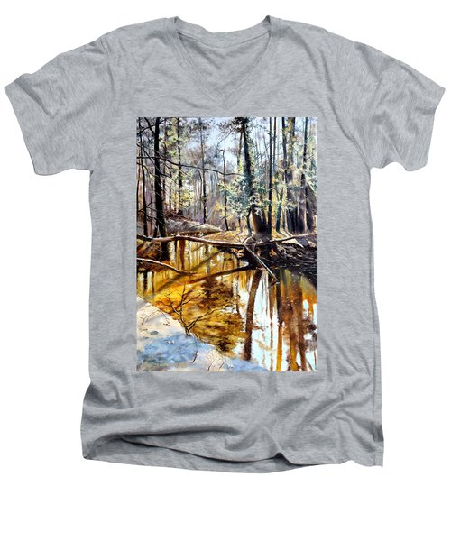 Men's V-Neck T-Shirt featuring the painting  Lubianka-2-river by Henryk Gorecki