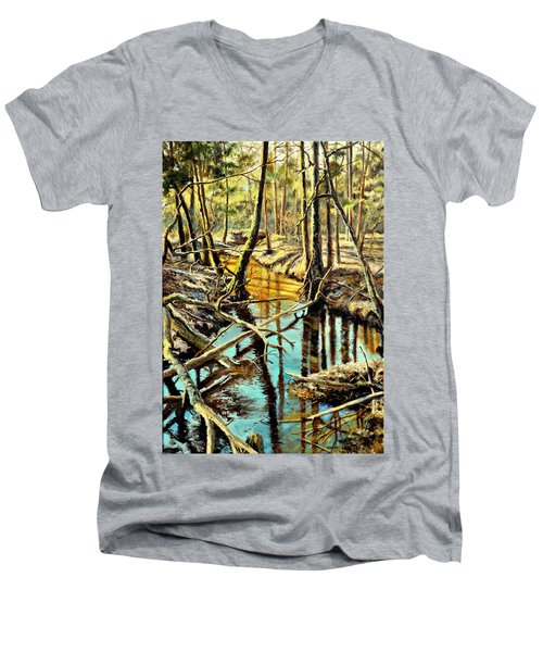 Men's V-Neck T-Shirt featuring the painting  Lubianka-3-river by Henryk Gorecki