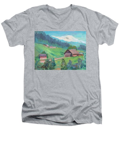 Men's V-Neck T-Shirt featuring the painting Lucerne Countryside by Diane McClary