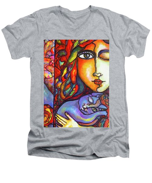 Men's V-Neck T-Shirt featuring the painting Lucid Dreams by Rae Chichilnitsky