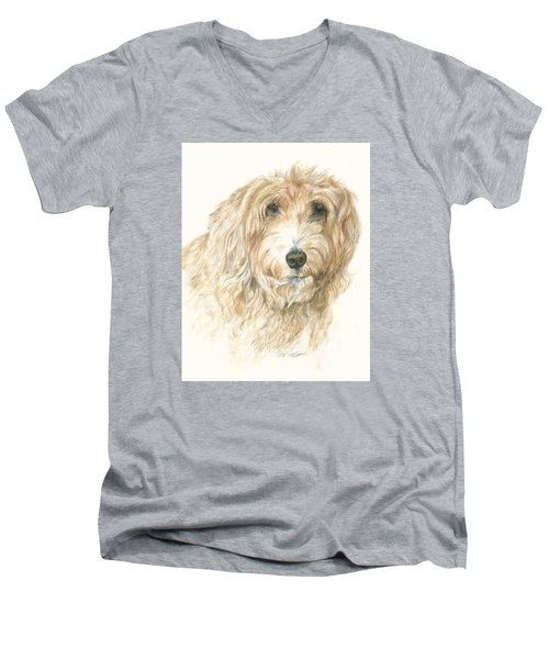 Men's V-Neck T-Shirt featuring the drawing Lucy by Meagan  Visser
