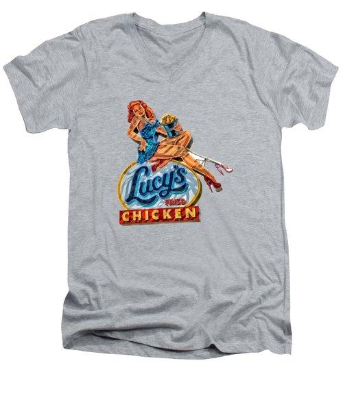 Lucys Fried Chicken Tee Men's V-Neck T-Shirt by Edward Fielding