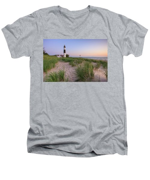 Men's V-Neck T-Shirt featuring the photograph Ludington Beach And Big Sable Point Lighthouse by Adam Romanowicz