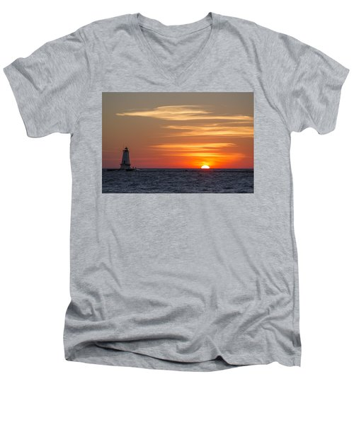 Men's V-Neck T-Shirt featuring the photograph Ludington North Breakwater Light At Sunset by Adam Romanowicz