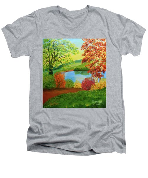 Men's V-Neck T-Shirt featuring the painting Luminous Colors Of Fall by Lee Nixon