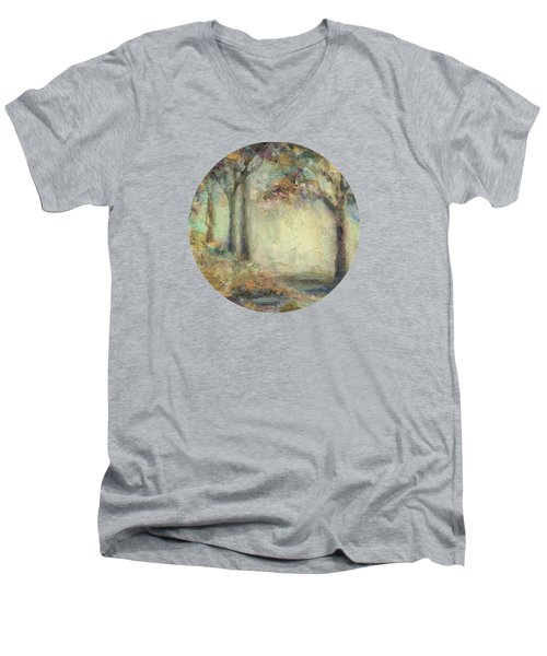 Men's V-Neck T-Shirt featuring the painting Luminous Landscape by Mary Wolf