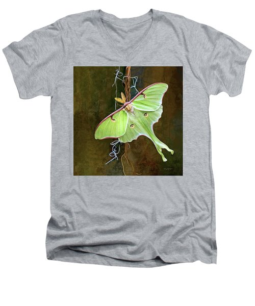 Men's V-Neck T-Shirt featuring the digital art Luna Moth by Thanh Thuy Nguyen