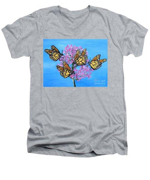 Butterfly Feeding Frenzy Men's V-Neck T-Shirt