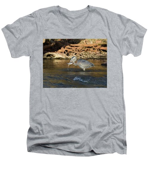 Men's V-Neck T-Shirt featuring the photograph Lunch On The Neuse River by George Randy Bass