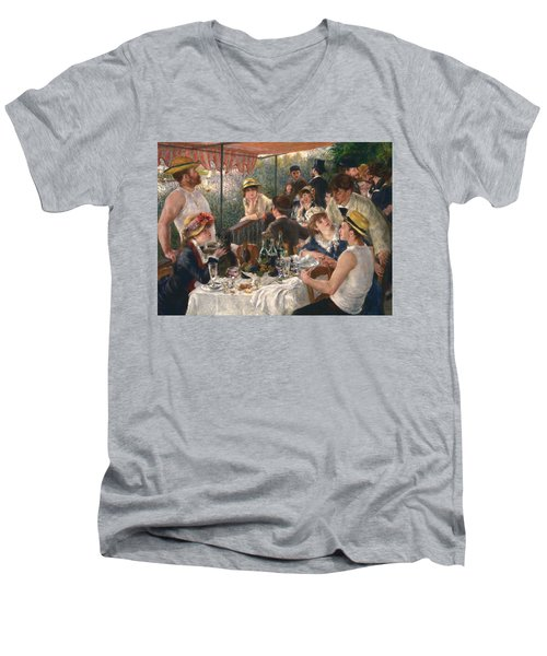 Luncheon Of The Boating Party By Renoir Men's V-Neck T-Shirt