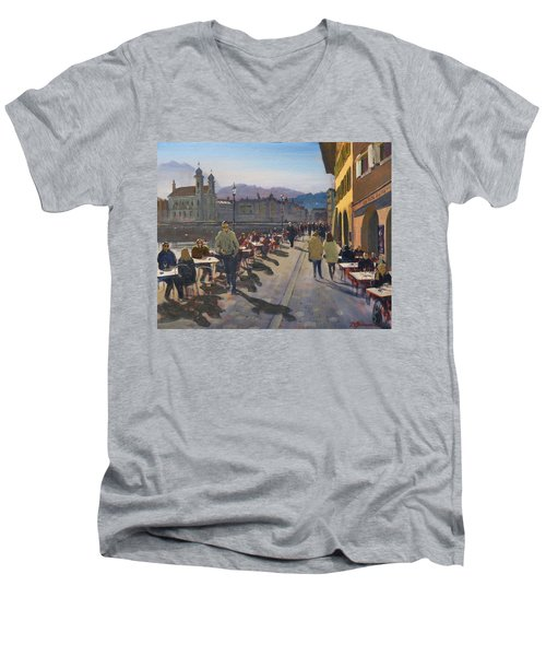 Lunchtime In Luzern Men's V-Neck T-Shirt