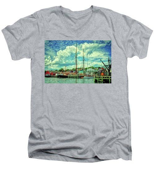 Men's V-Neck T-Shirt featuring the photograph Lunenburg Harbor by Rodney Campbell