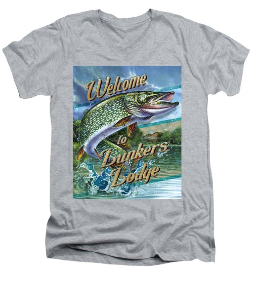 Men's V-Neck T-Shirt featuring the painting Lunkers Lodge Sign by Jon Q Wright