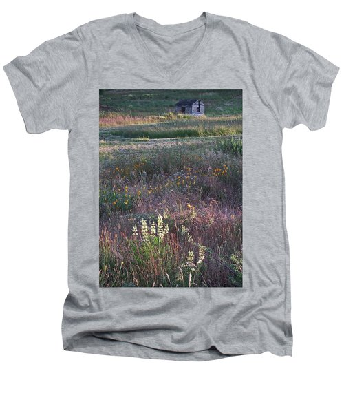 Men's V-Neck T-Shirt featuring the photograph Lupine by Laurie Stewart