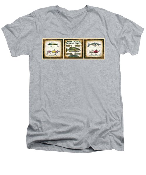 Men's V-Neck T-Shirt featuring the painting Lure Three Piece Panels by JQ Licensing Jon Q Wright