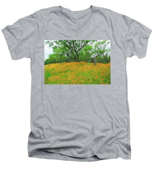Lush Coreopsis Men's V-Neck T-Shirt by Lynn Bauer